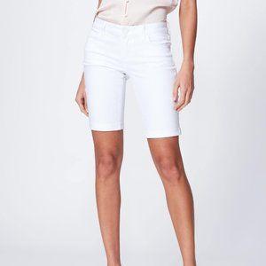 Paige Rolled Cuff Bermuda Jean Shorts Wht NWOT W